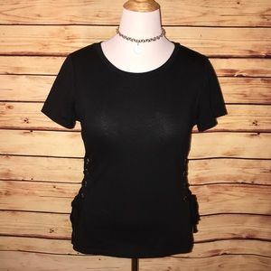 Love J Black Lace Up Side Tee
